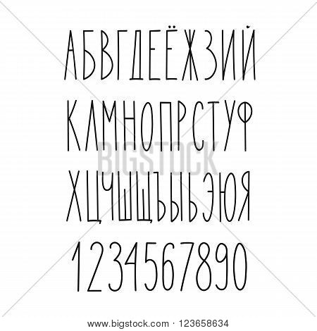 Doodle russian cyrillic narrow alphabet vector simple hand drawn letters thin san serif marker font. Decorative font for books posters postcard web hand drawn style typography.