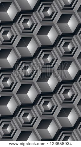 Futuristic continuous black and white pattern illusive motif abstract background with 3d geometric figures. Monochrome decorative seamless backdrop can be used for design and textile.