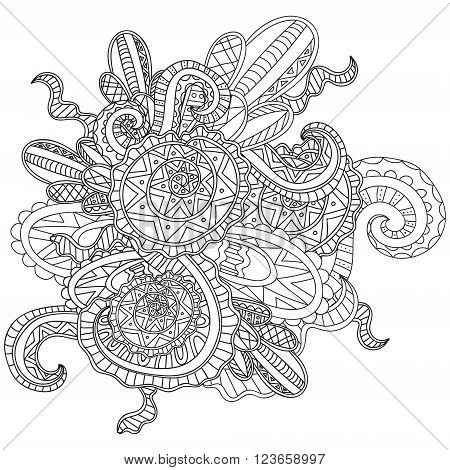 Coloring pages for adults. Coloring book.Decorative hand drawn doodle nature ornamental curl vector sketchy pattern