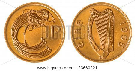 1 Penny 1995 Coin Isolated On White Background, Ireland