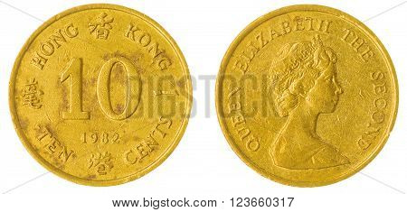 10 Cents 1982 Coin Isolated On White Background, Hong Kong