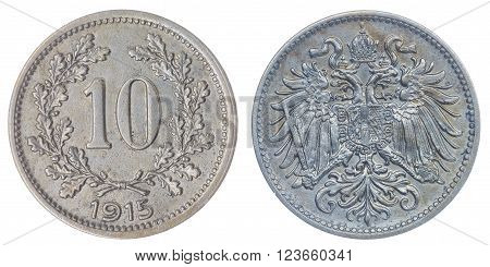 Copper Nickel 10 heller 1915 coin isolated on white background, Austro-Hungarian Empire