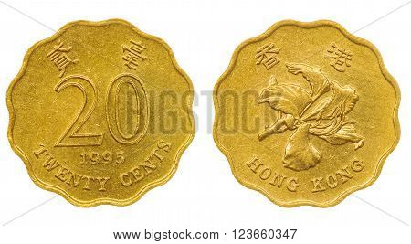 20 Cents 1995 Coin Isolated On White Background, Hong Kong