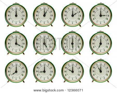 Vintage mechanical wind-up alarm clock  set on white background