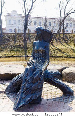 GRODNO BELARUS - MART 27: Statue of a girl-the wave in the Park named Gilibert Mart 27 2016 in Grodno Belarus