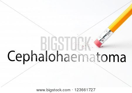 Closeup of pencil eraser and black cephalohaematoma text. Cephalohaematoma. Diseases of the musculoskeletal system. Pencil with eraser.