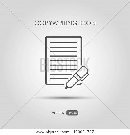 Copywriting icon in linear style. Vector illustration