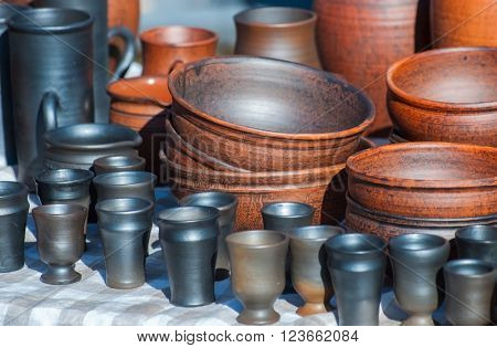 Handmade ceramic ware. Black smoke ceramic ware.