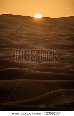Sunrise Over The Dunes, Morocco, Sahara Desert
