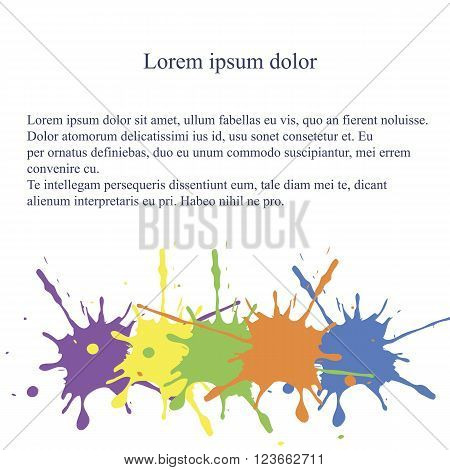 Abstract background. The bottom line the spot of spilled paint on white, Lorem ipsum, vector
