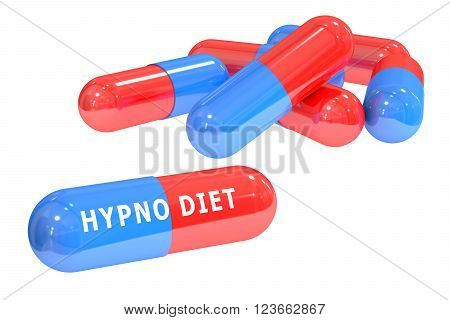 hypno diet pills concept with pills isolated on white background 3D rendering