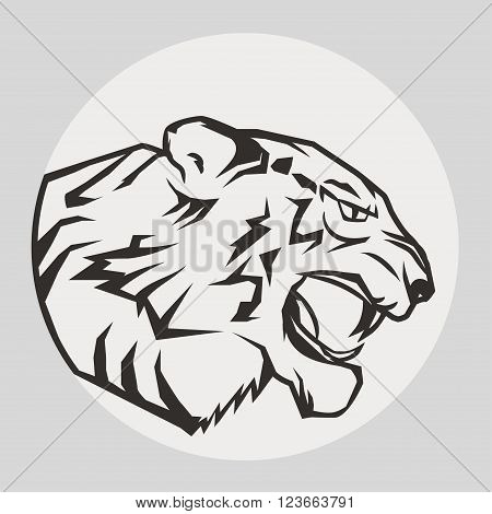 Angry Tiger, wild big cat head. Cute face of Black Cat. Aggressive puma with bared teeth in cartoon style, cat tattoo, t-shirt print design