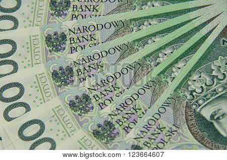 100 Pln Notes Spread Like A Fan