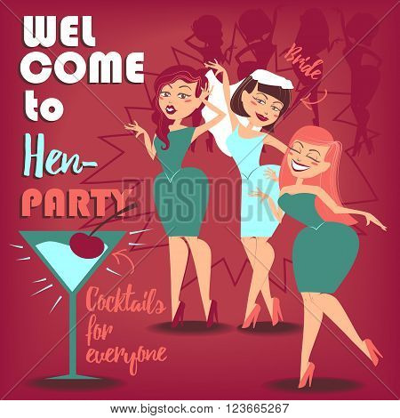 Vector illustration for you design. Three girls celebrating hen party.