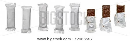 Set of chocolate or cereal bars on white background