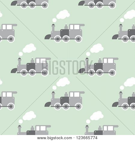 Seamless retro style toy steam train Scandinavian kids background pattern in vector