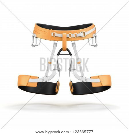 Climbing and mountainneering harness isolated on white background. Front view. 3d rendering.