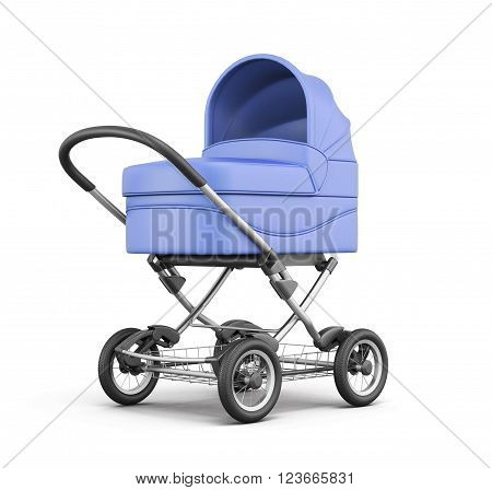 Blue baby stroller isolated on white background. For boy. 3d rendering.
