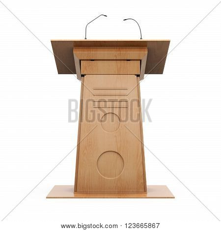 Wooden grandstand frontal view isolated on white background. 3d rendering.