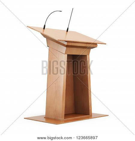 Wooden tribune isolated on white background. 3d render image.