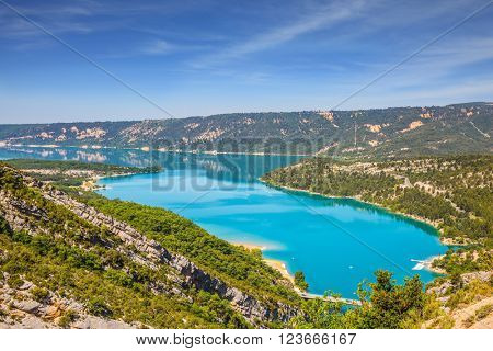 Canyon of Verdon, Provence, May. Picturesque lake with turquoise water among wooded hills