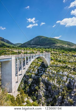 The white bridge over tributary of the River Verdon Artuby, from which arranged jumping. Canyon of Verdon, Provence, France. The largest alpine canyon Verdon