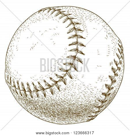 Vector antique engraving illustration of baseball ball isolated on white background