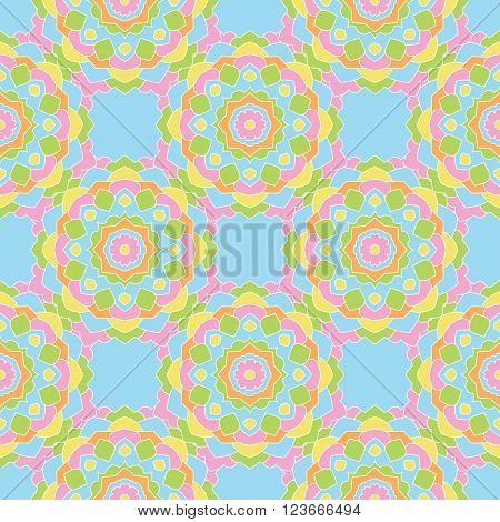 Seamless pattern of colored round mandalas. Wallpaper design, paper, fabric.