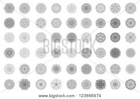 Mandala collection. Circular symmetrical pattern. Coloring for adults. Round Oriental ornaments.