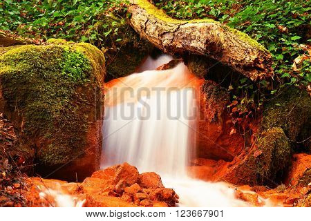 Cascades in rapid stream of mineral water. Red ferric sediments on big boulders between ferns