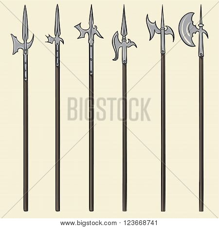 Set of historical halberd weapons. Illustration with slashing weapons on a light background.