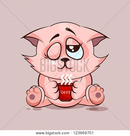 Vector Stock Illustration isolated Emoji character cartoon cat just woke up with cup of coffee sticker emoticon for site, infographic, video, animation, websites, e-mails, newsletters, reports, comics