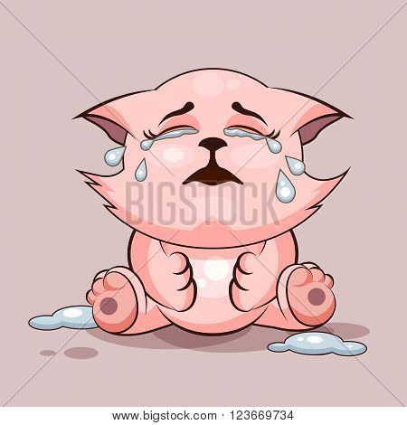 Vector Stock Illustration isolated Emoji character cartoon cat crying, lot of tears sticker emoticon for site, infographics, video, animation, websites, e-mails, newsletters, reports, comics