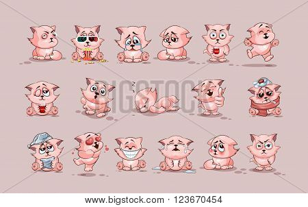 Set Vector Stock Illustrations isolated Emoji character cartoon cat stickers emoticons with different emotions for site, infographics, video, animation, websites, e-mails, newsletters, reports, comics