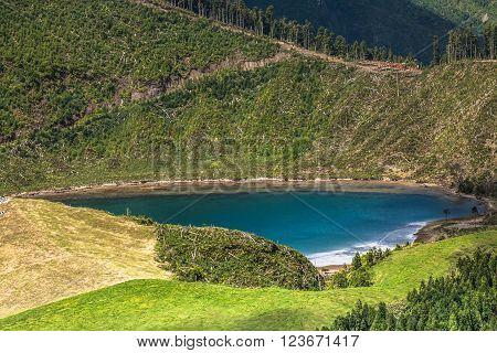 Beautiful lake of Sete Cidades Azores Portugal Europe