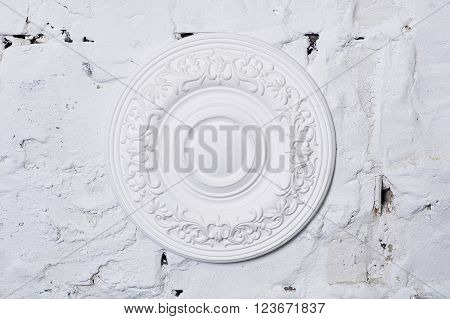 Architectural luxury white wall design with mouldings.