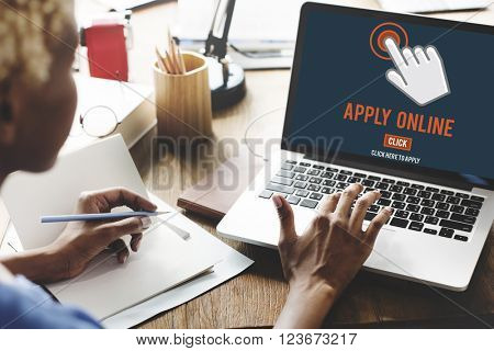 Apply Here Apply Online Job Concept