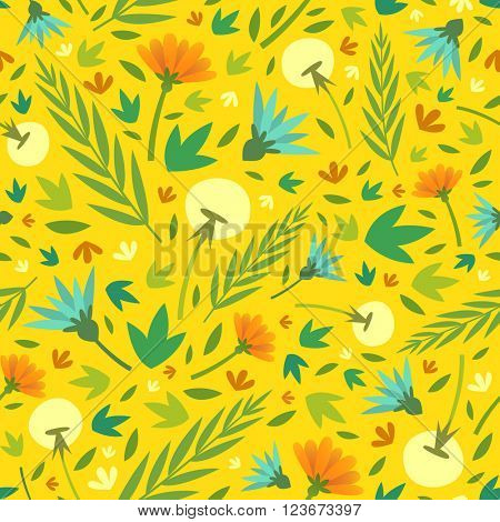 Floral seamless pattern with spring flowers. Vector illustration
