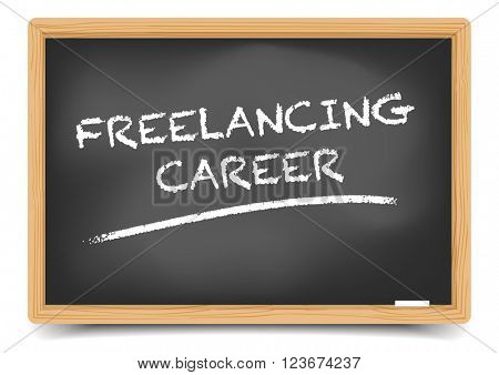 detailed illustration of a blackboard with Freelancing Career Buzzword, eps10 vector, gradient mesh included