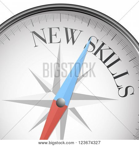detailed illustration of a compass with New Skills text, eps10 vector