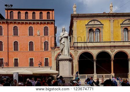 Verona, Italy, October 4, 2015 - The Dante statue on the Piazza dei Signori