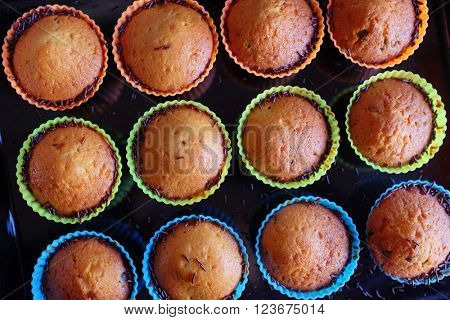 Collection of home made muffins on colorful silicon forms
