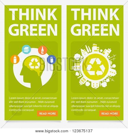 Abstract vector ecological city and garbage sorting green banners collection