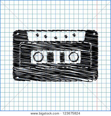 Cassette icon, audio tape sign. Flat style icon with scribble effect on school paper.