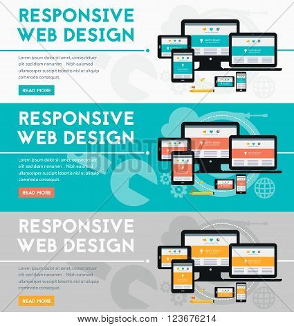 Responsive webdesign technology concept banners. Horizontal collection