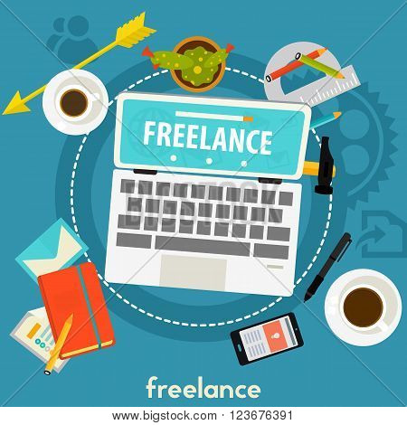 Vector freelance concept illustration banner. Square composition