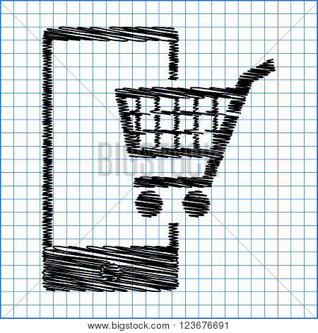 Shoping on smart phone sign. Flat style icon with scribble effect on school paper.