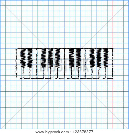 Piano Keyboard  sign. Flat style icon with scribble effect on school paper.
