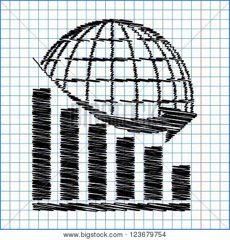 Declining graph  with earth. Flat style icon with scribble effect on school paper.