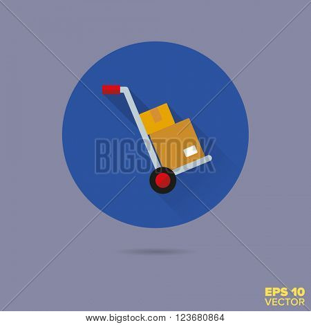 hand truck with parcels flat design vector icon